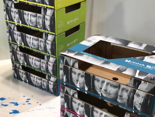 Hispalco pila de cajas Mona Lisa en Fruit Attraction 2019